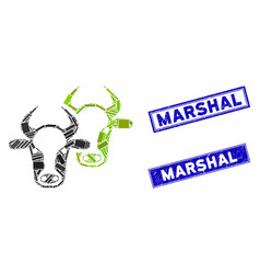 Livestock mosaic and scratched rectangle marshal vector