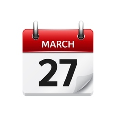 March 27 flat daily calendar icon Date vector