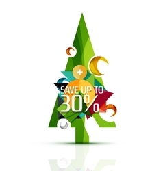 Merry Christmas tree with promotion commercial vector image