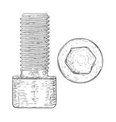 metal bolt with hex socket hand drawn sketch vector image vector image