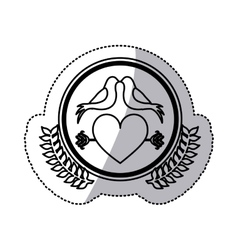 Monochrome sticker with heart crossed by arrow in vector