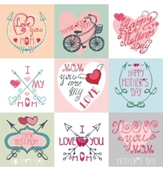 Mothers day cards setArrows decor elements vector