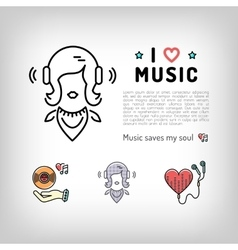 Music player icon girl listening music in vector