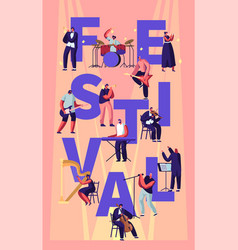 musical festival concept with musicians playing vector image