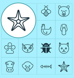 Nature icons set collection of bumblebee night vector