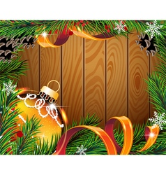 Orange Christmas ball on wooden board vector