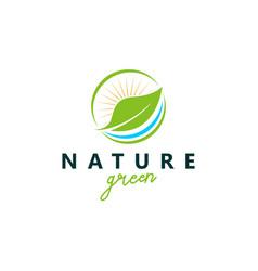 Organic farming logo design - eco nature green vector