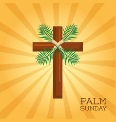 palm sunday cross card celebration christianity vector image