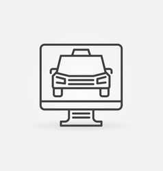 pc display with taxi concept icon in thin vector image