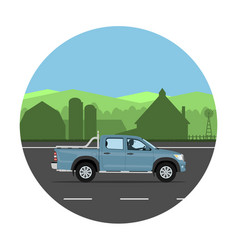 Pickup truck on road vector