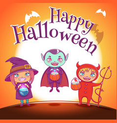 poster with kids in costumes of witch vampire vector image