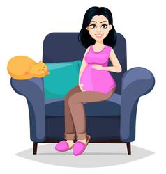 Pregnant woman beautiful lady vector