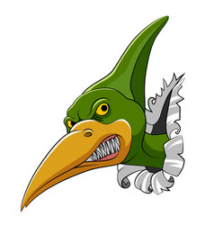 pteranodon head come out from big wall vector image
