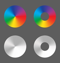Radial gradient circle ring rainbow and monochrome vector