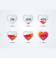 rating hearts set heart shape filled with love vector image