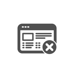 Reject web page icon no internet sign vector