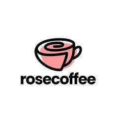 rose cup coffee tea flower logo icon vector image
