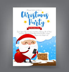 santa claus cartoon with smart phone in hand vector image