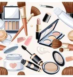 Seamless pattern from cosmetics objects in bege vector