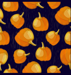 seamless pattern with pumpkin crop on dark vector image