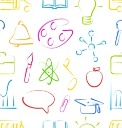 Seamless Wallpaper with Colorful Set School vector image