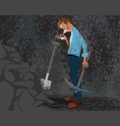 Seeker in a cave vector