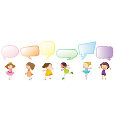 set girl with speech balloon vector image