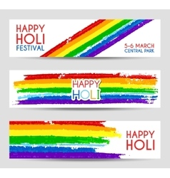 Set of colorful banners for Holi festival vector image