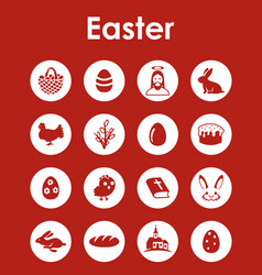 set of easter simple icons vector image
