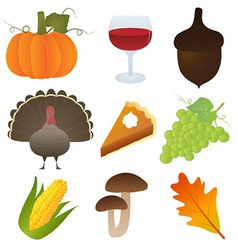 set thanksgiving icons vector image