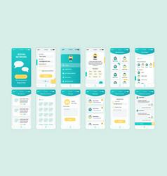 set ui ux gui screens social network app vector image