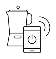 smart coffee jug icon outline style vector image
