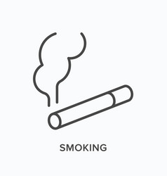 smoking flat line icon outline vector image