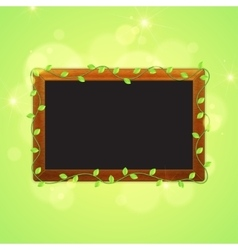 Spring blackboard with green leaves vector image