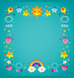 sun clouds rainbow birds nature frame border vector image