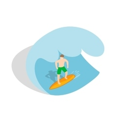 Surfer riding the wave icon isometric 3d style vector image