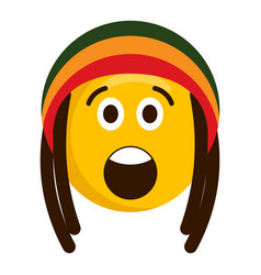 Surprised emoji with reggae hat vector