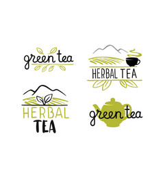 tea emblems with text and leaves vector image
