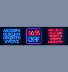 template for the discount neon blue and red vector image