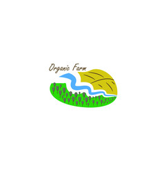 template logo for organic farm with river vector image