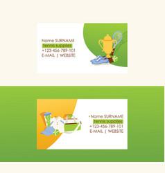 tennis business card tennis-ball sportswear on vector image