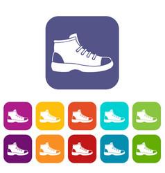 Tourist shoe icons set vector