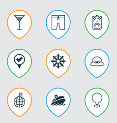 travel icons set with location marker summer hat vector image