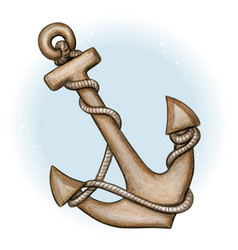 watercolor anchor with rope vector image
