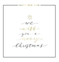 We wish you a Merry Christmas gold text vector image