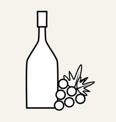 Wine bottle with grape fruit vector