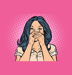 woman covered her mouth vector image