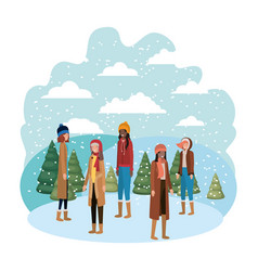 women with winter clothes and winter pines avatar vector image