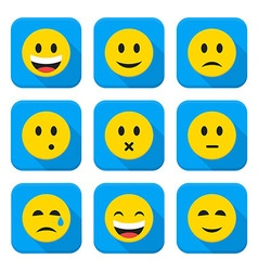 Yellow Smiley Faces Squared App Icon Set vector