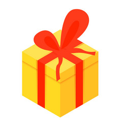 yellow xmas gift box icon isometric style vector image